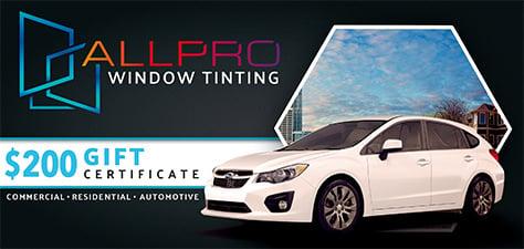 Window Tint Specials   All Pro Window Tinting